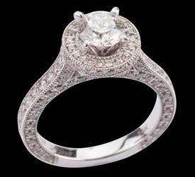 -1.00 carat SI1 Clarity I Color .35 carats of diamonds in semi mount in 18k  Was $5,419
