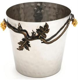 "_9946 Ice Bucket stainless steel hammered with grape and vine design and gold accents 8""in diameter and 7.5""in height"