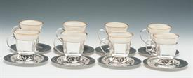 ,Set of 8 Demitasse Cups made by International Silver Co. and Designed by La Paglia -32.80 troy ounces net silver Lenox liners not in weight