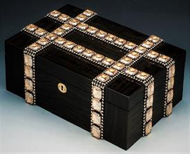 ",_Grammercy luxe box with hand set Swarovski crystal elements. 13.25"" wide x 4"" tall x 8.75"" deep. ORIGINAL RETAIL $3800"