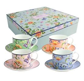_REGAL COTTAGE CUP AND SAUCER SET OF FOUR CUPS AND SAUCERS FLORAL AND BUTTERFLIES