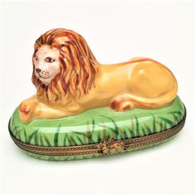 ",RETIRED CHAMART LION IN GRASS TRINKET BOX. HAND PAINTED, SIGNED. 2.6"" TALL, 3.75"" LONG, 2"" WIDE"