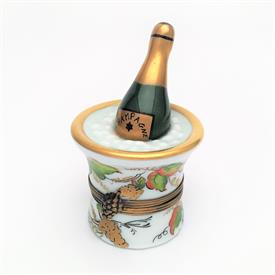 ",RETIRED CHAMPAGNE BOTTLE IN GRAPE MOTIF ICE BUCKET TRINKET BOX. HAND PAINTED, SIGNED. 2.8"" TALL, 1.8"" WIDE"