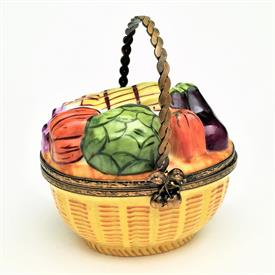 """,RETIRED BASKET OF VEGETABLES WITH METAL HANDLE & CHERRY CLASP. HAND PAINTED, SIGNED. 3.2"""" TALL, 2.6"""" LONG, 2.2"""" WIDE"""