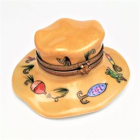 ",RARE FISHING HAT WITH LURES AND BAIT. HAND PAINTED, SIGNED. 1.25"" TALL, 2.6"" LONG, 2.5"" WIDE"