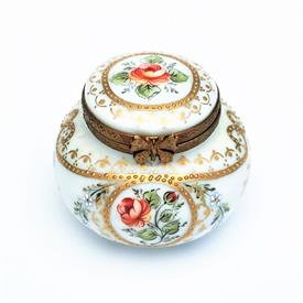 ",RETIRED CARDINET TRADITIONAL STYLE TRINKET BOX WITH ORANGE ROSES, BUTTERFLIES & ENAMELED DETAILS. HAND PAINTED, SIGNED. 1.65"" TALL, 2"" WIDE"