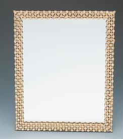 """_VANITY TRAY DECORATIVE GOLD WITH 1""""WIDE BORDER OF CRYSTALS."""