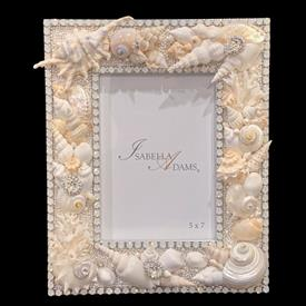 "-,5X7"" WHITE OPAL SEALIFE FRAME. FEATURES SWAROVSKI CRYSTALS & SHELLS. 10.5"" TALL, 8.5"" WIDE"