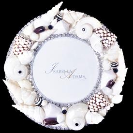 "-,6"" ROUND BLACK, BROWN, & WHITE SHELL FRAME WITH CLEAR CRYSTALS"