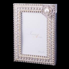 """-,4X6"""" PEARL FLOWER PICTURE FRAME WITH CLEAR SWAROVSKI CRYSTALS."""