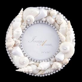 "-,5"" ROUND WHITE SHELL FRAME WITH OPAL CRYSTALS"