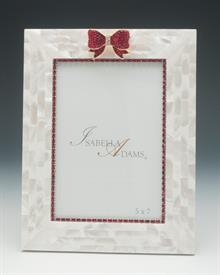 """-5X7"""" MOTHER OF PEARL BOW FRAME IS RED SIAM SWAROVSKI CRYSTALS. MADE IN THE USA."""