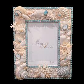 """-,5X7"""" PACIFIC OPAL CRYSTAL & SEA LIFE PICTURE FRAME. 10.5"""" TALL, 8.5"""" WIDE"""