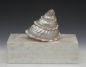 ",-LARGE WHITE SHELL & MOTHER OF PEARL JEWELRY BOX. 6.25"" LONG, 3.75"" WIDE, 2"" DEEP"