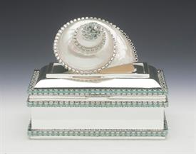 "-,B-801X PACIFIC OPAL SHELL KEEPSAKE BOX WITH GREEN SWAROVSKI CRYSTALS. 4.5"" LONG, 3"" WIDE, 2.25"" DEEP"