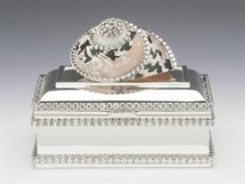 "-,B-805X BLACK PICA SHELL KEEPSAKE BOX WITH SWAROVSKI CRYSTALS. 4.75"" LONG, 3"" WIDE, 2.25"" DEEP"