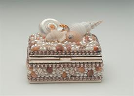 "-,PALE TOPAZ CRYSTAL & SEASHELL RING BOX. 3.25"" LONG, 2.25"" WIDE, HEIGHT VARIES"