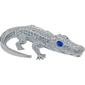 "-,DADDY CROCO WITH SAPPHIRE EYES. 5.5""L x 3.5""W x 1""H"