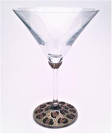 -LEOPARD PRINT MARTINI GLASS SET WITH SWAROVSKI CRYSTAL. MADE IN THE USA