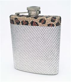 -LEOPARD PRINT AND CRYSTAL FLASK 8OZ COMES WITH FUNNEL FOR EASY FILL