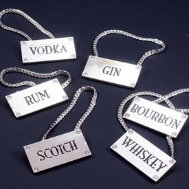 ,-SET OF 6 DECANTER TAGS WITH INSET SWAROVSKI CRYSTALS. INCLUDES VODKA, GIN, RUM, SCOTCH, BOURBON, & WHISKEY.