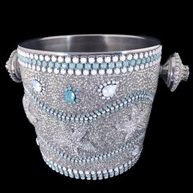 "-SEA LIFE CHAMPAGNE ICE BUCKET FEATURING PACIFIC OPAL SWAROVSKI CRYSTALS. 7.5"" TALL"