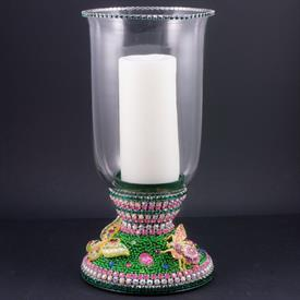 "-SRING GARDEN HURRICANE LANTERN CANDLE HOLDER WITH SWAROVSKI CRYSTAL BUGS. 13"" TALL"