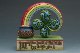 ",_MAY THE LUCK OF THE IRISH BE WITH YOU FOUR LEAF CLOVER GOOD LUCK FIGURINE. 3.5""H"