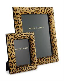 ,_NATASHA 8X10 LEOPARD FRAME LEOPARD PRINTED HAIRCALF BLACK LEATHER,BLACK POLYSUDE BRASS SWIVEL WITH RL LOGO.