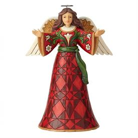 "_,'DELIGHT IN THE GOOD NEWS' BURGUNDY & GOLD ANGEL FIGURINE. 10"" TALL"