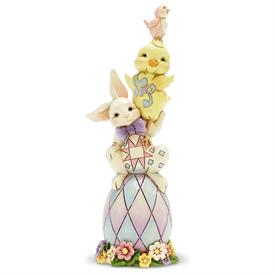 "_:'EGG-STRA DOSE OF CUTE' STACKED EASTER FRIENDS FIGURINE. 6.5"" TALL"