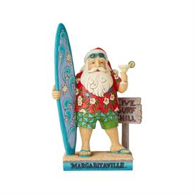"_,SANTA WITH SURFBOARD MARGARITAVILLE FIGURINE. 10.5"" TALL, 3.5"" WIDE, 6.5"" LONG"