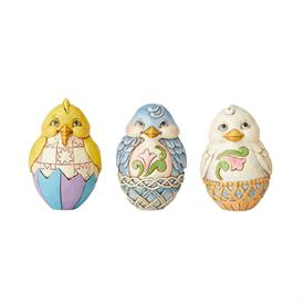 "_,SET OF 3 'EASTER CHICK' EGG FIGURINES. 2.5"" TALL"
