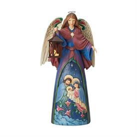 "_,LIGHTED ANGEL WITH HOLY SCENE FIGURINE. 20.25"" TALL, 9"" WIDE, 10"" LONG. LED SWITCH ON BASE OF LANTERN."