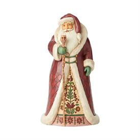 "_,REGAL SANTA WITH CANE FIGURINE. 12.25"" TALL, 6.25"" WIDE, 6.5"" LONG"