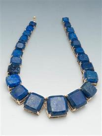 """-16""""GOLD PLATED W/BLUE LAPIS,SECURITY CLASP"""