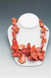 "-17""POLISHED AGATE ORANGE W/LOBSTER CLAW CLASP"