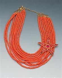 "-20""ORANGE WITH PINK/ORANGE RHINESTONE S/W LOBSTER CLASP"