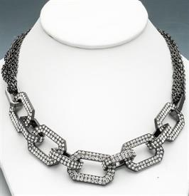 "_RHODIUM PLATED 16""WITH JEWELED INTERLOCKING SQUARES."