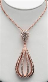 "-18""COPPER PLATED PENDANT WITH CRYSTALS."