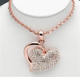 """-18"""" COPPER PLATED HEART WITH CRYSTALS"""