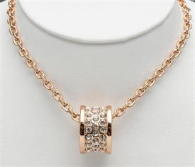 """_18"""" GOLD PLATED BARREL ON CHAIN WITH CRYSTALS IN CENTER."""