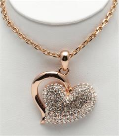 """_18"""" HEART PENDANT WITH CRYSTALS"""