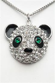 "_18"" RHODIUM PLATED PANDA HEAD PENDANT WITH GREEN EYES."