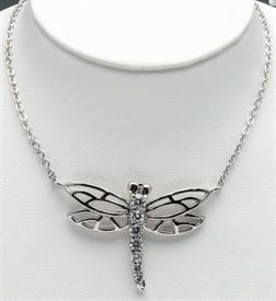 """-16""""RHODIUM PLATED DRAGON FLY PENDANT WITH CRYSTALS."""