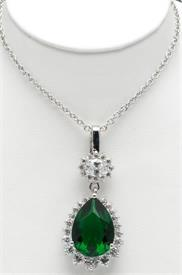 """-16""""RHODIUM NECKLACE WITH PEAR SHAPED GREEN STONE CENTER ENCIRCLED WITH CRYSTALS"""