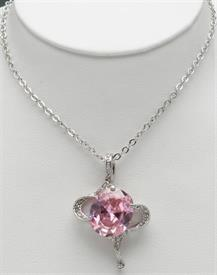 "-20""RHODIUMN PENDANT WITH PINK ICE"