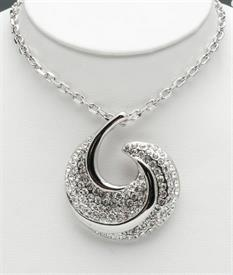 "_20"" SILVER PENDANT HALF MOON WITH CRYSTALS"