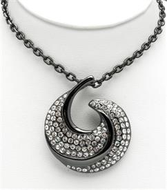 "_20"" RHODIUM PLATED HALF MOON PENDANTWITH CRYSTALS"