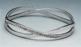 -BANGLE SILVER TONE RHODIUM WITH CRYSTALS